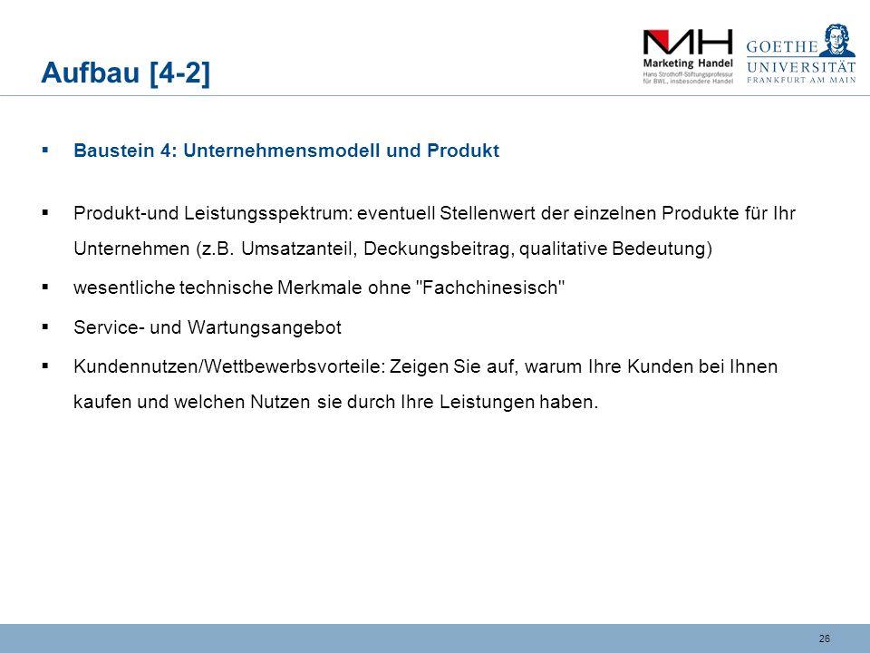 Aufbau [4-2] Baustein 4: Unternehmensmodell und Produkt